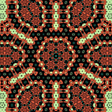 Endless pattern in brown color. Ornamental mandala seamless pattern, vector illustration.  イラスト・ベクター素材