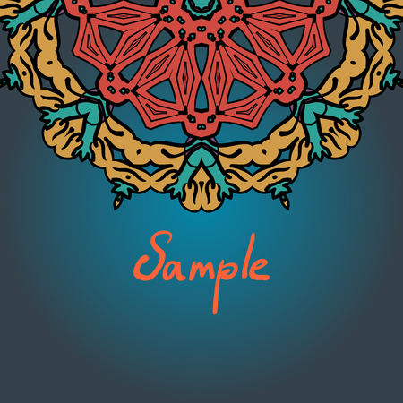 Vintage motif. Half full mandala ornament frame for text in the Indian style.