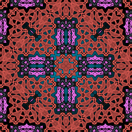 Red and pink ornamental asian background. Stock Illustratie