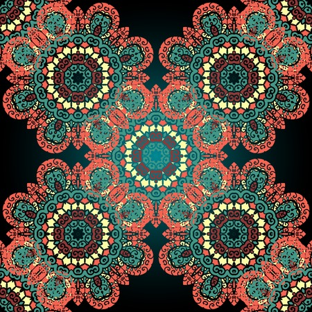 Green amd red ornate seamless psychedelic paisley background