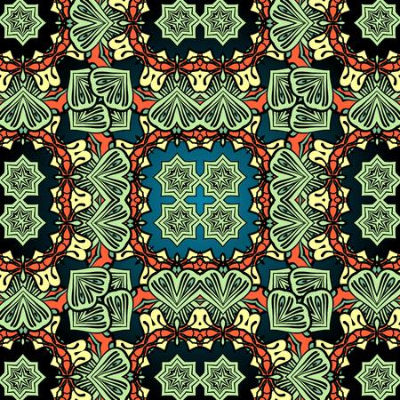 Green carpet asian wallpaper design. Tribal vintage element. Çizim