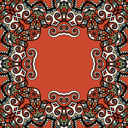 Mandala frame red color. Kaleidoscopic ornament with place for text in the center.  イラスト・ベクター素材