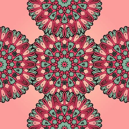 Pink mandala endless background. Seamless psychedelic paisley wallpaper