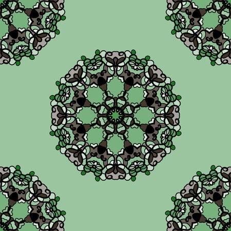 Seamless green mandala flower. Ornamental kaleidoskopic wallpaper Illustration