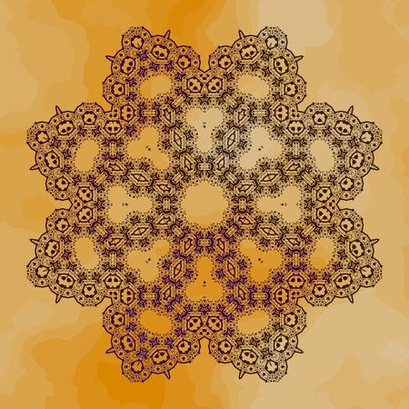 Henna color outlined mandala-pattern on yellow-brown color background Vektorové ilustrace