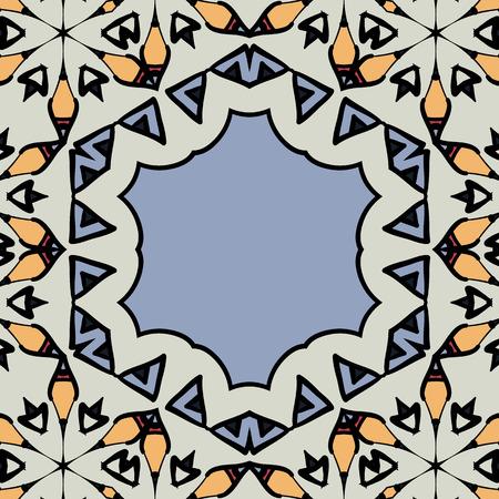 Ornamental frame border with copyspace. Mandala like stylized hexagonal motif.  イラスト・ベクター素材