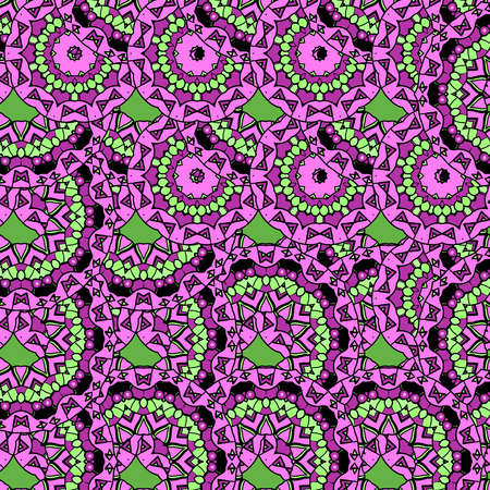 Violet coloured oriental ornate seamless pattern. Ethnic bright seamless background. Vector illustration