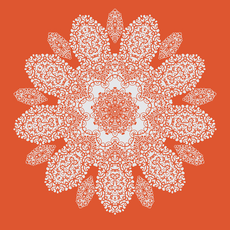 Hand drawn mandala on orange background. All objects are conveniently grouped and are easily editable.  イラスト・ベクター素材