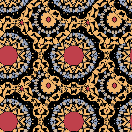 Seamless tribal wallpaper. Endless tiles vector design of yellow, gray and red color. 矢量图像