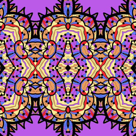 ethnic seamless pattern background in violet and blue colors, vector illustration. 일러스트