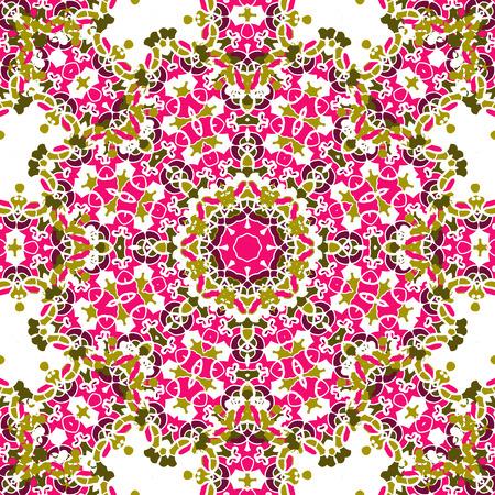 Pink coloured mandala like design, seamless oriental vintage element motif