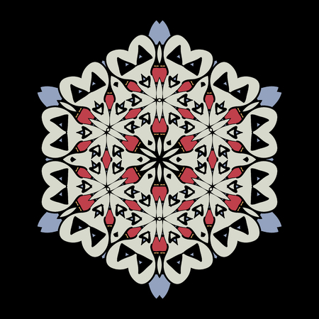 Mandala. Round Ornament Pattern on black background.