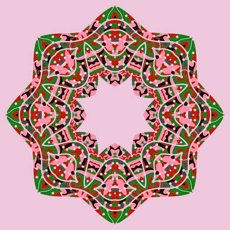 Pink and green mandala motif. Ornate unusual design in tribal style  イラスト・ベクター素材