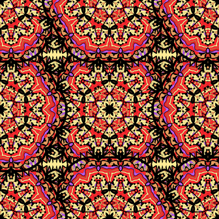 Arabesque seamless pattern. Seamless Pattern Circle Ornament in Red Color. Illustration