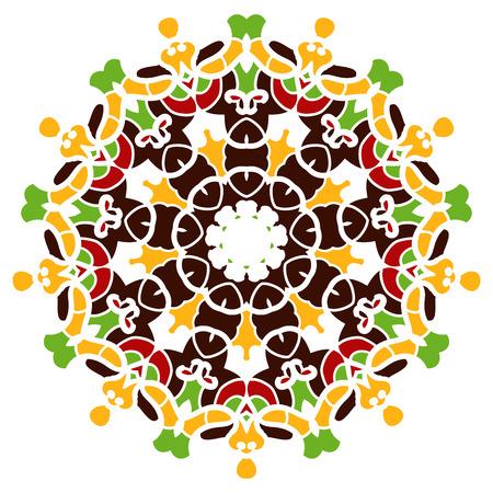 Colorful mandala motif. Multi coloured kaleidoscope design on white background.  イラスト・ベクター素材