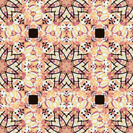 Oriental star seamless background in brown color. Mosaic motif.