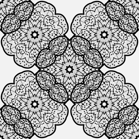 ethnic seamless pattern. Indian ornament,  flora pattern, mandala. range, circle, round, disk. abstract seamless pattern Illustration