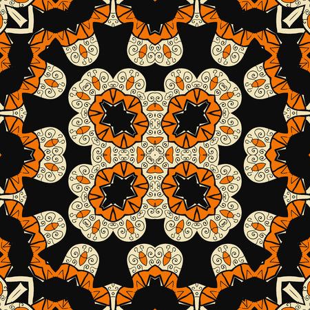 Seamless ornate oriental design. Endless mandala. Asian carpet inspired art.