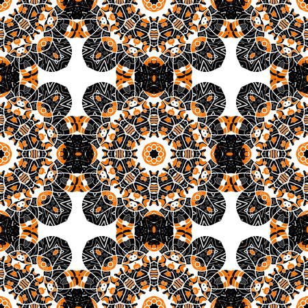 Seamless oriental tiled pattern. Stylized flowers endless wallpaper.