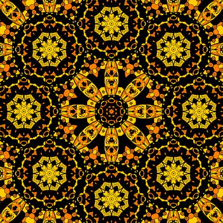 Endless mandala design. Yellow coloured endless tiled pattern  イラスト・ベクター素材