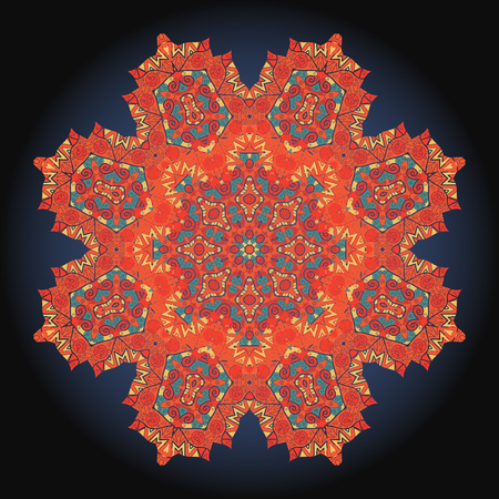 Mandala flower red ornament background.