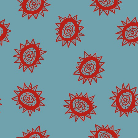 Doodle star with concentric circles inside chaotic seamless pattern Illustration