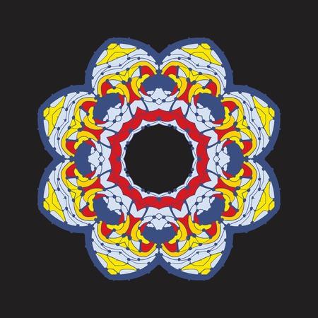 Colorful chakra flower-like oriental ornament in tibetian-color style on dark background. Illusztráció