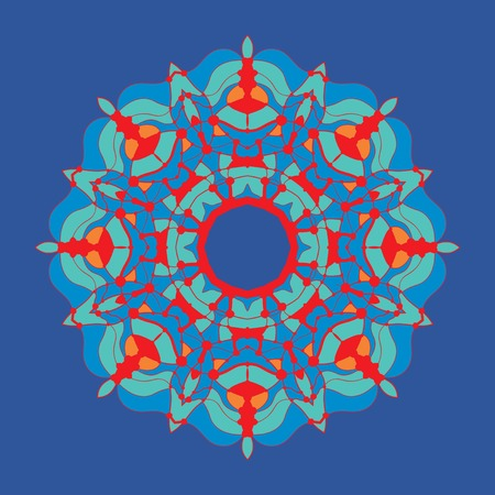 Stylized Colorful mandala-chakra flower-like oriental ornament in tibetian-color style on dark background. Illusztráció