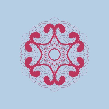 Red Mandala With Bended Lines. Outlined mandala-like zentangle design