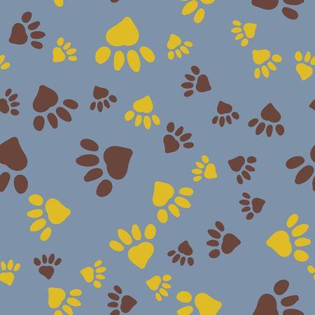 Stylized Paw Seamless Background Pattern Illustration