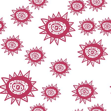 Seamless pattern with red hand painted flowers on white. Seamless Texture pattern. Vector Illustration.