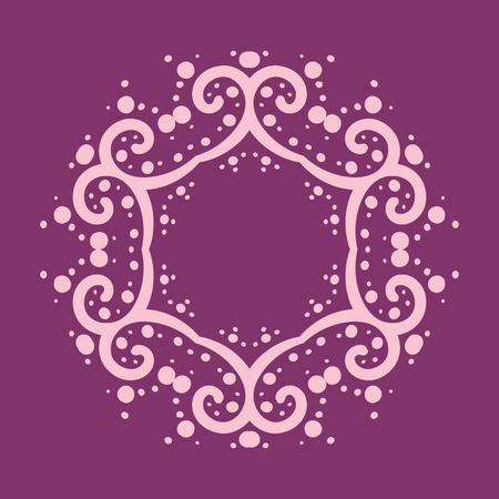 Six corner mandala made of curves and dots on violet