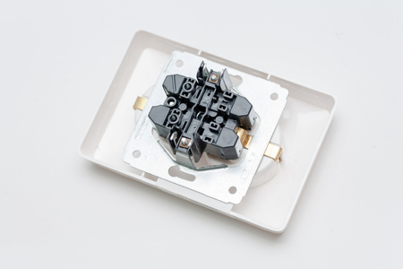 Rear View Electrical Outlet image with copyspace from above. Electrical outlet replacement of electric socket in household power supply network Stok Fotoğraf