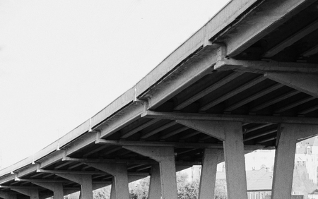 Highway ramps. Concrete pilons supporting elevated highway
