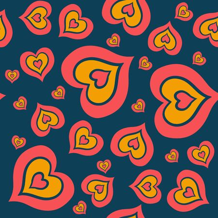 The seamless pattern consists of a multitude of red and orange hearts embedded in each other on a dark blue  イラスト・ベクター素材