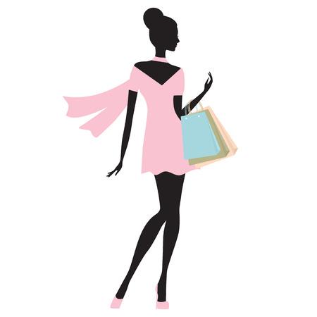 fashion woman shopping vector illustration