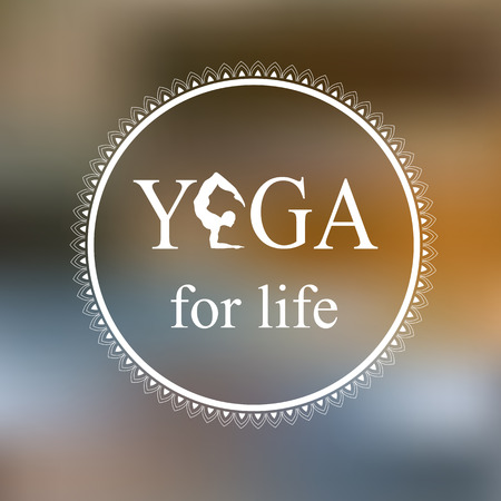 Logo for yoga studio.Yoga meditation logo. Vector yoga illustration. Yoga sticker. Fitness center. Poster for yoga class