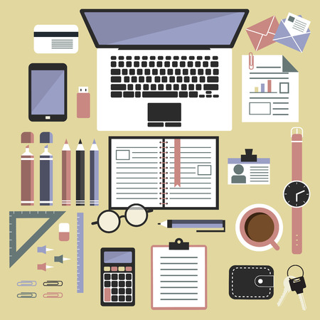 design tools: Office desk top view. Flat design style, office equipment, working tools and other business elements.Top view of desk background with laptop, digital devices, office objects, books and documents.