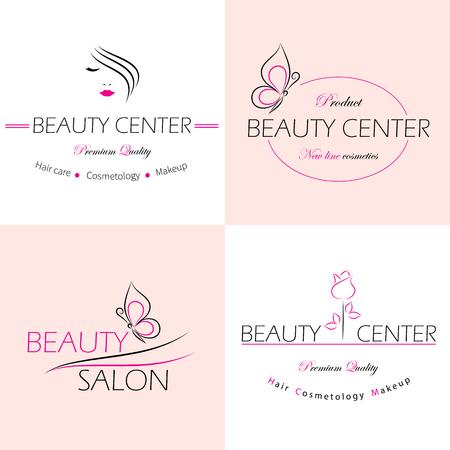 femme papillon: Ensemble de vecteur logo modèles, des étiquettes et badges pour un salon de beauté. Illustration