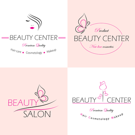 donna farfalla: Insieme dei modelli vettore logo, etichette e distintivi per un salone di bellezza.