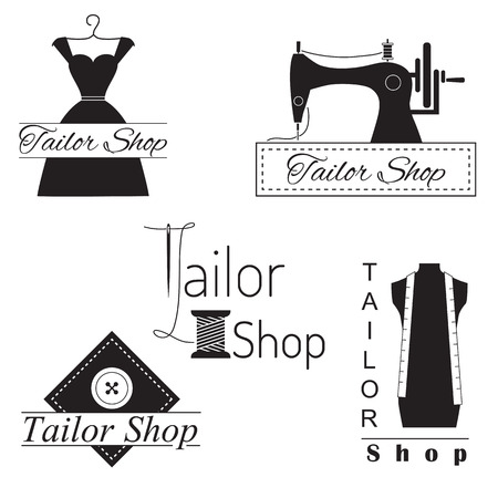 sew: Set of tailor labels, badges and emblems. Tailor shop design elements vector. Illustration