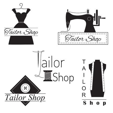 Set of tailor labels, badges and emblems. Tailor shop design elements vector. Stock Illustratie