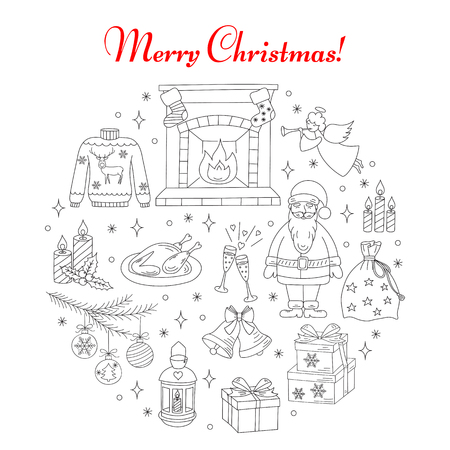 christmas fireplace: Christmas and New Year holiday line icons set, vector illustrations hand drawn. Christmas fireplace, socks, Santa Claus with bag, angel, fir tree branch, lantern, turkey, bells and gift box isolated.