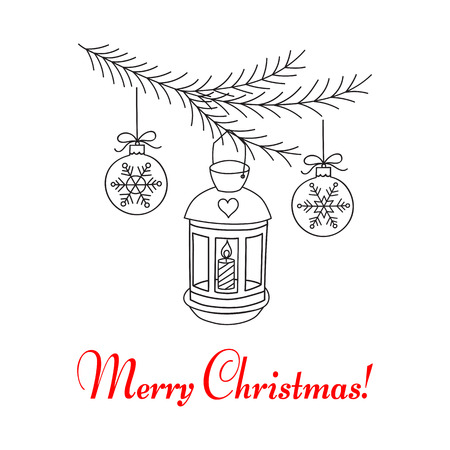Christmas Lantern Hanging On Fir Branches Merry And Happy New Year Greeting Card