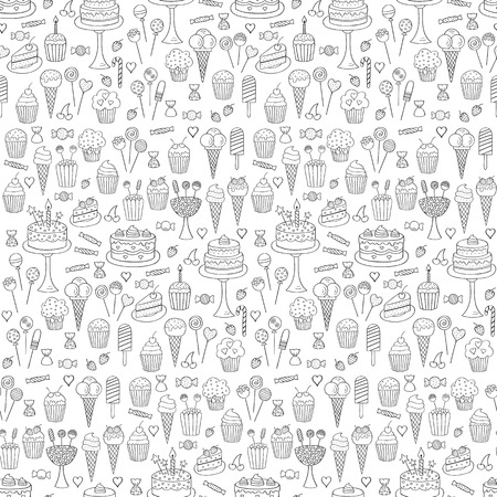 Sweets hand drawn doodle vector seamless background. Dessert illustrations pastries, birthday cake, cupcake, ice cream, candy, chocolate. Vettoriali