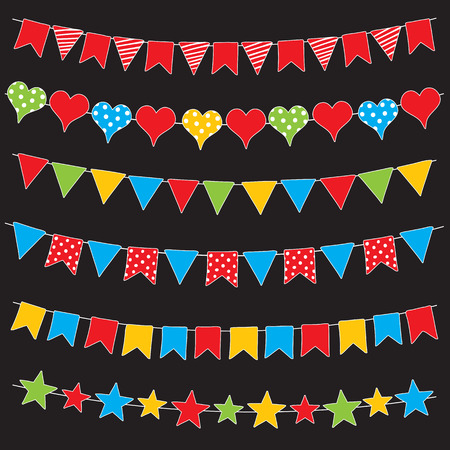 Colorful bunting flags and garlands, hand drawn vector. Illustration