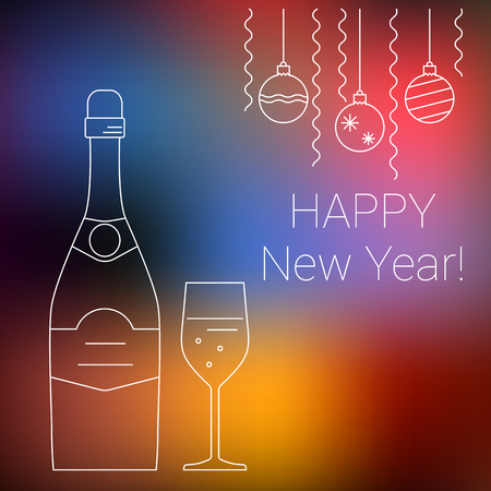 Vector bottle and glass of champagne on blurred background, thin line style. New Year greeting card or poster design.