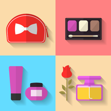 botle: Cosmetic and Makeup Vector flat Icons Set. Cosmetic bag, perfume bottle, eye shadows. Beauty products.