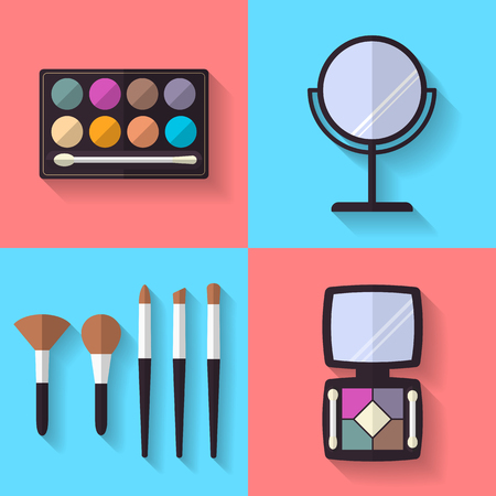 flat brushes: Cosmetic and Makeup Vector flat Icons Set . Eye shadows, makeup brushes, mirror. Beauty products.