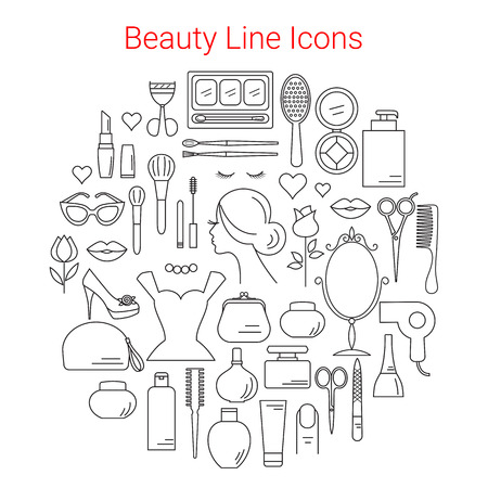 centers: Beauty, Cosmetic and Makeup Vector Line Icons Set Circular Shaped . Beauty logo design elements. Symbols and icons for fashion, beauty salon, spa, hairdressers or wellness centers. Women accessories Illustration